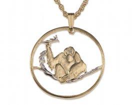 "Orangutan Pendant and Necklace, Vietnam Orangutan Coin Hand Cut, 14 Karat Gold and Rhodium plated, 1 1/8"" in Diameter, ( # 403 )"