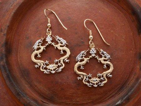 "Oriental Dragon Earrings, Bhutan Royal Dragon Coin Hand Cut, 14 Karat Gold and Rhodium PLated, 7/8"" in Diameter, ( # 568BE)"