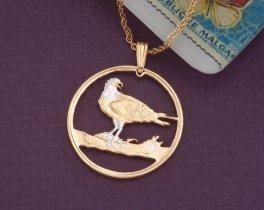 "Osprey Pendant, Osprey Jewelry. Bird Of Prey Pendant, Canada Coin Jewelry, 1"" in diameter ( # 738D )"