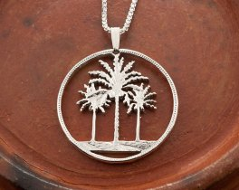 Palm Tree Pendant, Silver Palm Tree Necklace, Tropical Jewelry, Jewerly For Woman, Iraq Coin Jewelry,  Sterling Silver Jewelry, ( # 844S )