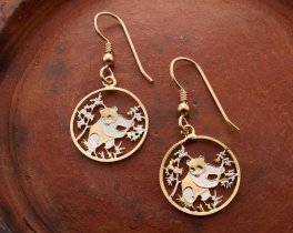 "Panda Bear Earrings, Chinese Panda Series coin Hand Cut, 14K Gold Filled Wires, 5/8"" in Diameter, ( # 364E )"