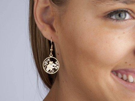 "Panda Bear Earrings, Chinese Panda Series coin Hand Cut, 14K Gold Filled Wires, 5/8"" in Diameter, ( # 364E )"