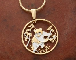"""Panda Bear Pendant and Necklace, Chinese Panda Bear coin Hand Cut, 14 K Gold and Rhodium plated, 7/8"""" in Diameter, ( # 365 )"""
