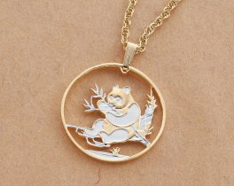 "Panda Bear Pendant and Necklace, Chinese Panda Bear Coin Hand Cut, 14 Karat Gold and Rhodium Plated, 1"" in Diameter, ( # 69 )"