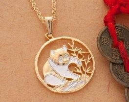 "Panda Bear Pendant and Necklace, Chinese Panda Bear Coin Hand Cut, 14 Karat Gold and Rhodium plated, 3/4"" in Diameter, ( # 67 )"
