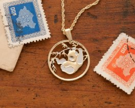 Panda Bear Pendant & Necklace, Chinese Coin Hand Cut , ( # 66 )