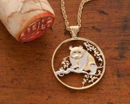 Panda Bear Pendant & Necklace Chinese coin Hand Cut , ( # 812 )