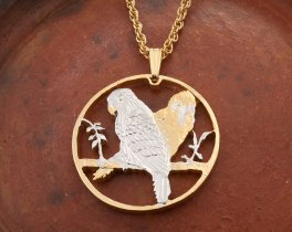 Parrots Pendant, Parrot Necklace, Tropical Bird Pendant,, Tropical Bird Jewelry, Coin Jewelry, Bird Jewelry, Coin Pendant, ( # 921 )