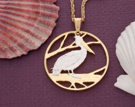 Pelican Pendant & Necklace, Hand cut from a Coin from Zambia. ( # 839 )