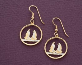 "Penguin Earrings, Falkland Island One Penny Penguin Coin Hand Cut, 14 Karat Gold and Rhodium plated, 5/8"" in Diameter, ( # 99E )"