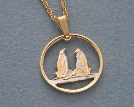 "Penguin Pendant and Necklace, Falkland Island Penguin Coin Hand Cut, 14Karat Gold and Rhodium Plated , 5/8"" in Diameter, ( # 99 )"
