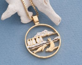 "Penguins and Seals Pendant and Necklace, Isle Of Man Coin Hand Cut, 14 Karat  Gold and Rhodium plated, 1 1/8 "" In Diameter, ( # 641 )"