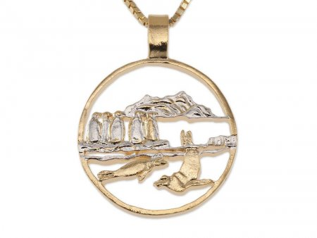 """Penguins and Seals Pendant and Necklace, Isle Of Man Coin Hand Cut, 14 Karat  Gold and Rhodium plated, 1 1/8 """" In Diameter, ( # 641 )"""