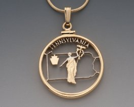 """Pennsylvania State Quarter Pendant, Hand Cut Pennsylvania Quarter, 14 Karat Gold and Rhodium Plated, 1"""" in Diameter, ( #2002 )"""