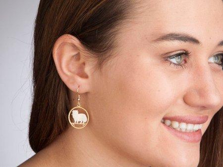 """Persian Cat earrings, Isle Of Man Persian Cat Coin Hand Cut, 14 Karat Gold and Rhodium Plated, 7/8"""" in Diameter, ( # 660E )"""