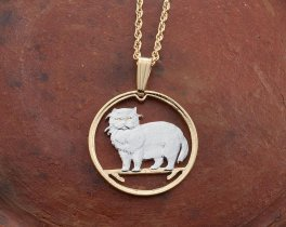 """Persian Cat Pendant and Necklace, Isle Of Man Persian Cat coin Hand Cut, 14 Karat Gold and Rhodium Plated, 7/8 """" in Diameter ( # 660 )"""