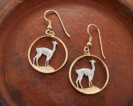 "Peruvian Llama Earrings, Peru One Half Sol Llama Coin Hand Cut, 14 Karat Gold and Rhodium plated, 3/4"" in Diameter, ( # 252E )"