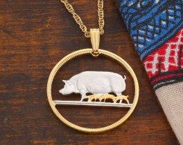 Pig Pendant, Pig Necklace, Farm Animal Jewelry, Wild Life Jewelry, Animal Jewelry, Irish Coin Jewelry, Irish Jewelry, Coin Pendant,(# 170)