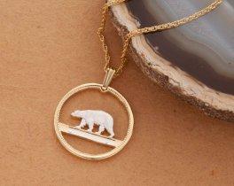 "Polar Bear Pendant and Necklace, Greenland Polar Bear Coin Hand Cut, 14 Karat Gold and Rhodium Plated, 7/8 "" in Diameter, ( # 150 )"