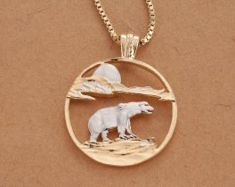 "Polar Bear Pendant and Necklace, Hand Cut Polar Bear Medallion, Polar Bear Jewelry, Wild Life Jewelry, 1 1/8"" in Diameter, ( # 881 )"
