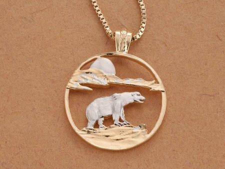 "Polar Bear Pendant and Necklace, Hand Cut Polar Bear Medallion, Polar Bear Jewelry, Wild Life Jewelry, 1 1/8"" in Diameter, ( # 881 )"