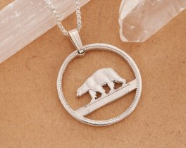 Polar Bear Pendant, Polar Bear Necklace, Polar Near Jewelry, Necklaces For Woman, Cut Coin Jewelry, Necklace Man, Coin Jewelry, ( # 150S )