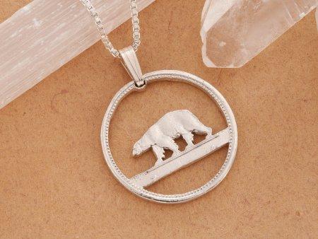Polar Bear Pendant, Polar Bear Necklace, Polar Near Jewelry, Necklaces For Woman, Cut Coin Jewelry, Necklace Man, Coin Jewelry, ( # 150S )