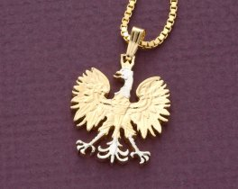"Polish Eagle Pendant and Necklace, Poland 10 Zloty Coin hand Cut, 14 Karat Gold and Rhodium plated, 7/8"" in Diameter ( # 256 )"