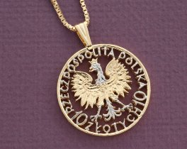 "Polish Eagle Pendant and Necklace, Poland Ten Zloty Coin Hand Cut, 14 Karat Gold and Rhodium plated, 1 1/4"" in Diameter, ( # 748 )"