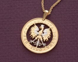"Polish Eagle Pendant and Necklace, Polish 100 Zloty Coin Hand Cut, 14 Karat Gold and Rhodium plated, 1"" in Diameter, ( # 431 )"
