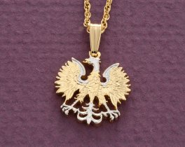 "Polish Eagle Pendant and Necklace, Polish Twenty Zloty Coin Hand cut, 14 Karat Gold and Rhodium plated, 5/8"" in Diameter, ( # 254 )"