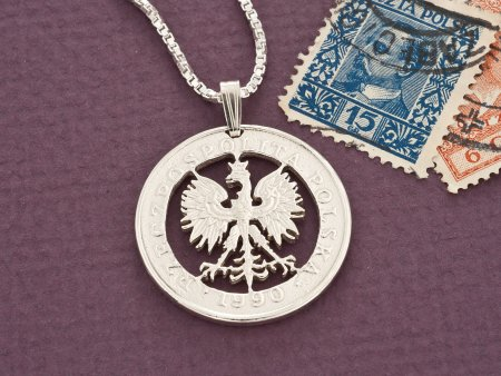 Polish Eagle Pendant, Silver Eagle, Polish Coin Jewelry, Mens Pendants, Necklaces for Woman, Coin Jewelry, Pendant Necklace, ( # 431S )