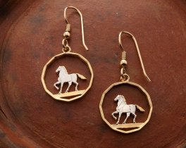 """Prancing Horse Earrings, Uruguay 10 Cents coin Hand Cut, 14 K Gold and Rhodium plated, 3/4 """" in Diameter, Gold Filled Ear Wires, ( # 300E )"""