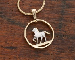 """Prancing Horse pendant and Necklace, Uruguay 10 Cents Coin Hand Cut, 14 Karat Gold and Rhodium plated, 3/4"""" in Diameter, ( # 300 )"""