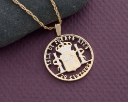 "Puerto Rican Coin Pendant and Necklace, Puerto Rican 20 centavos coin Hand cut,14 Karat Gold and Rhodium plated, 7/8"" in Diameter, ( # 591 )"