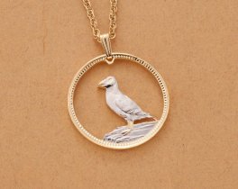 "Puffin Pendant and Necklace, Lundy One Puffin coin Hand Cut, 14 Karat Gold and Rhodium, 1 1/8 "" Diameter, ( # 454 )"