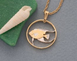 "Queen Anglefish Pendant and Necklace Jewelry, Bermuda Coin Hand Cut, 14 Karat Gold and Rhodium Plated, 3/4 "" in Diameter ( # 36 )"
