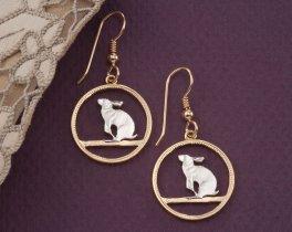Rabbit Earrings, Snowshoe Rabbit Earrings, Canada Coin Jewelry, Wildlife Earrings, Wildlife Jewelry, Earrings For Woman , ( # 50E )