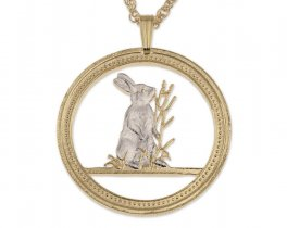 """Rabbit  Pendant and Necklace, Chinese Year Of The Rabbit Coin Hand Cut, 14 K Gold and Rhodium Plated, 1 1/8"""" in Diameter, ( # 672 )"""
