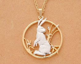 """Rabbit Pendant & necklace, Year of the Rabbit Chinese Coin Hand Cut, Plated in 14 Karat Gold and Rhodium, 1 1/4"""" in Diameter, ( # 557 )"""