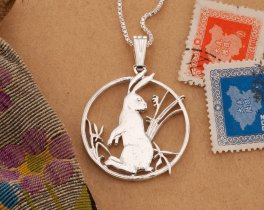 Rabbit Pendant Necklace, Sterling Silver Jewelry, Wildlife Jewelry, Necklaces For Woman, Coin Jewelry, Year Of The Rabbit Gifts,  (# 557S )