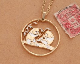 """Red Panda Bear Pendant and Necklace, Chinese Red Panda Coin Hand Cut, 14 Karat Gold and Rhodium Plated, 1 1/8"""" in Diameter, ( # 830 )"""