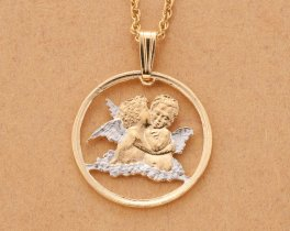 "Religious Angels Pendant and Necklace, Gibralter Angel Coin Hand Cut, 14 Karat Gold and Rhodium plated, 3/4"" in Diameter, ( # 635 )"
