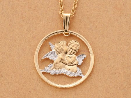 """Religious Angels Pendant and Necklace, Gibraltar Angel Coin Hand Cut, 14 Karat Gold and Rhodium plated, 3/4"""" in Diameter, ( # 635 )"""