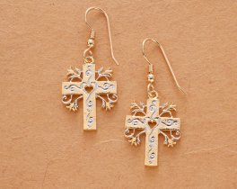 "Religious Cross Earrings, Hand Cut Cross Medallions, 14 Karat Gold and Rhodium plated, 14 K G/F Ear Wires, 1"" in Diameter, ( # 875BE )"