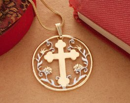 "Religious Cross Pendant and Necklace, Cross Medallion Hand Cut, 14 Karat Gold and Rhodium Plated, 1 1/8 "" in Diameter, ( # 778 )"