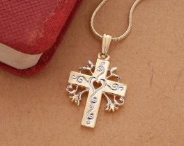 "Religious Cross Pendant and Necklace, Hand Cut Religious Cross Medallion, 14 Karat Gold and Rhodium Plated, 1"" in Diameter, ( # 875B )"