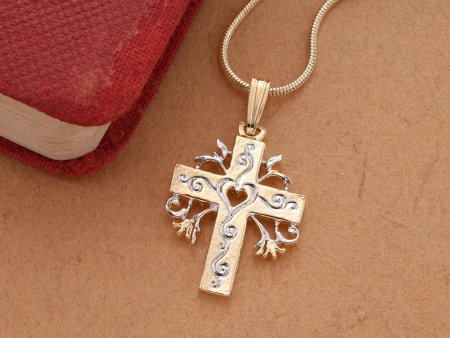 """Religious Cross Pendant and Necklace, Hand Cut Religious Cross Medallion, 14 Karat Gold and Rhodium Plated, 1"""" in Diameter, ( # 875B )"""