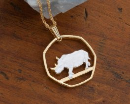 "Rhinoceros Pendant and Necklace, Botswana Rhinoceros Coin Hand Cut, 14 Karat Gold and Rhodium Plated, 1"" in Diameter, ( # 931 )"