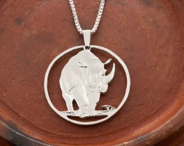 Rhinoceros Pendant, Rhinoceros Jewelry, Tanzania Jewelry, Coin Jewelry, Handmade Coin Jewelry, Wildlife Jewelry, African Wildlife, (# 377S )